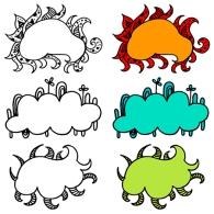 vector doodle clouds
