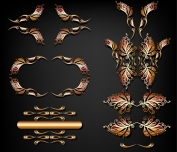 vector golden ornament set