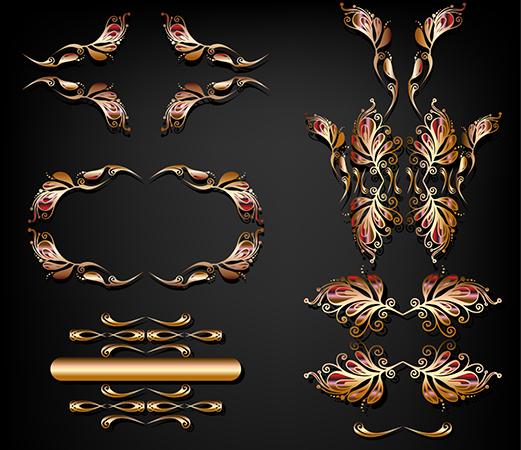 vector golden ornament set