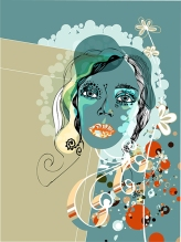 Vector Floral Woman