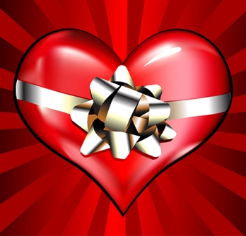 vector heart with ribbon