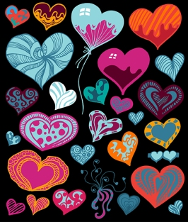 Vector doodle heart shapes