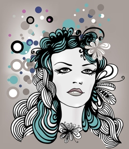 Vector doodle girl