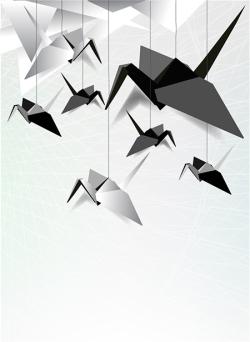 Vector origami cranes
